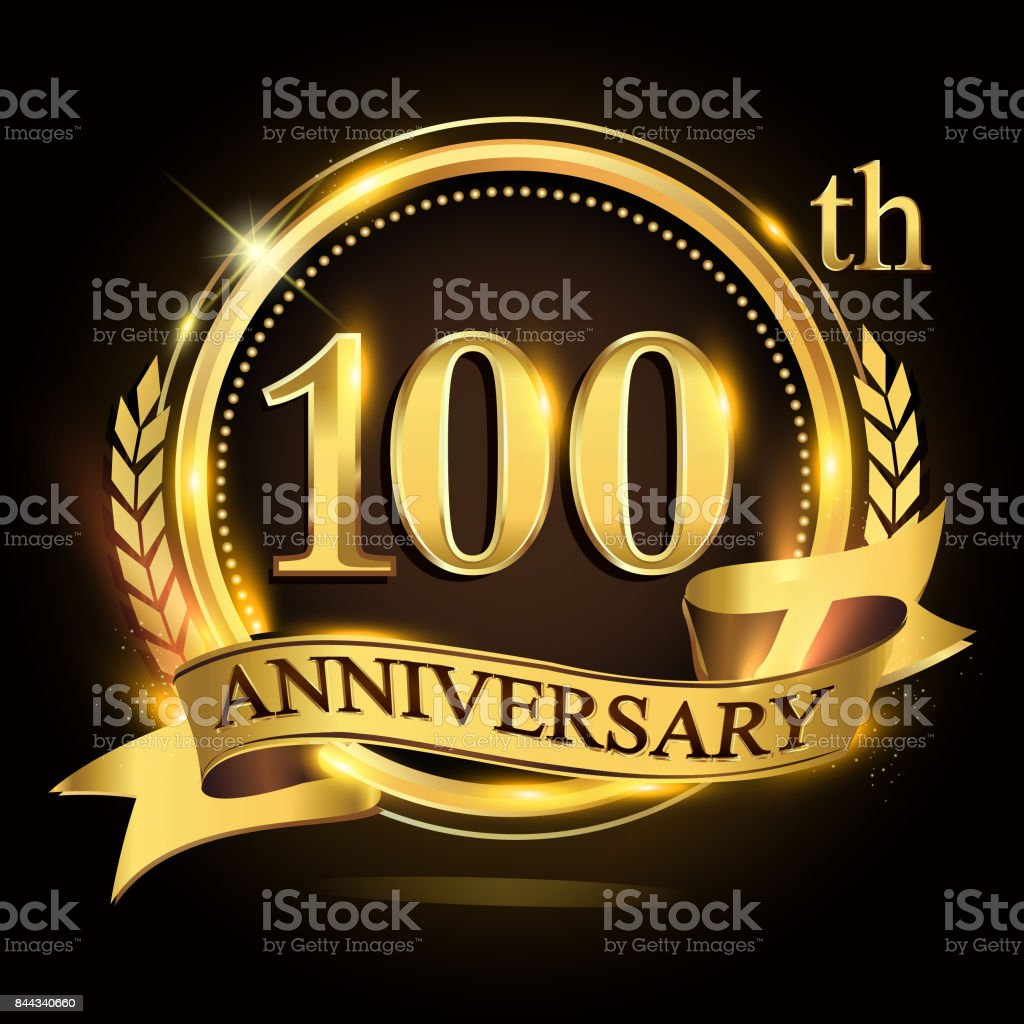 100th golden anniversary logo with ring and ribbon, laurel wreath vector design. vector art illustration