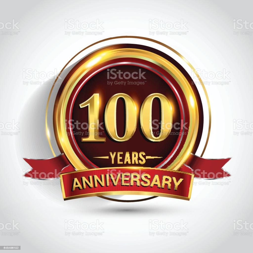 100th golden anniversary vector art illustration