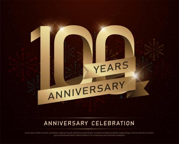 bildbanksillustrationer, clip art samt tecknat material och ikoner med 100 år jubileum firande guld nummer och gyllene band med fyrverkerier på mörk bakgrund. vektorillustration - nummer 100