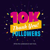 10k or 10000 followers card banner post template for celebrating many followers in online social media networks.