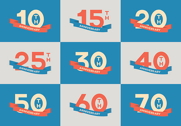 10th, 20th, 30th, 40th, 50th, 60th jubilee logo, logotype. vector art illustration