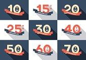 10th, 20th, 30th, 40th, 50th, 60th jubilee logo, logotype.