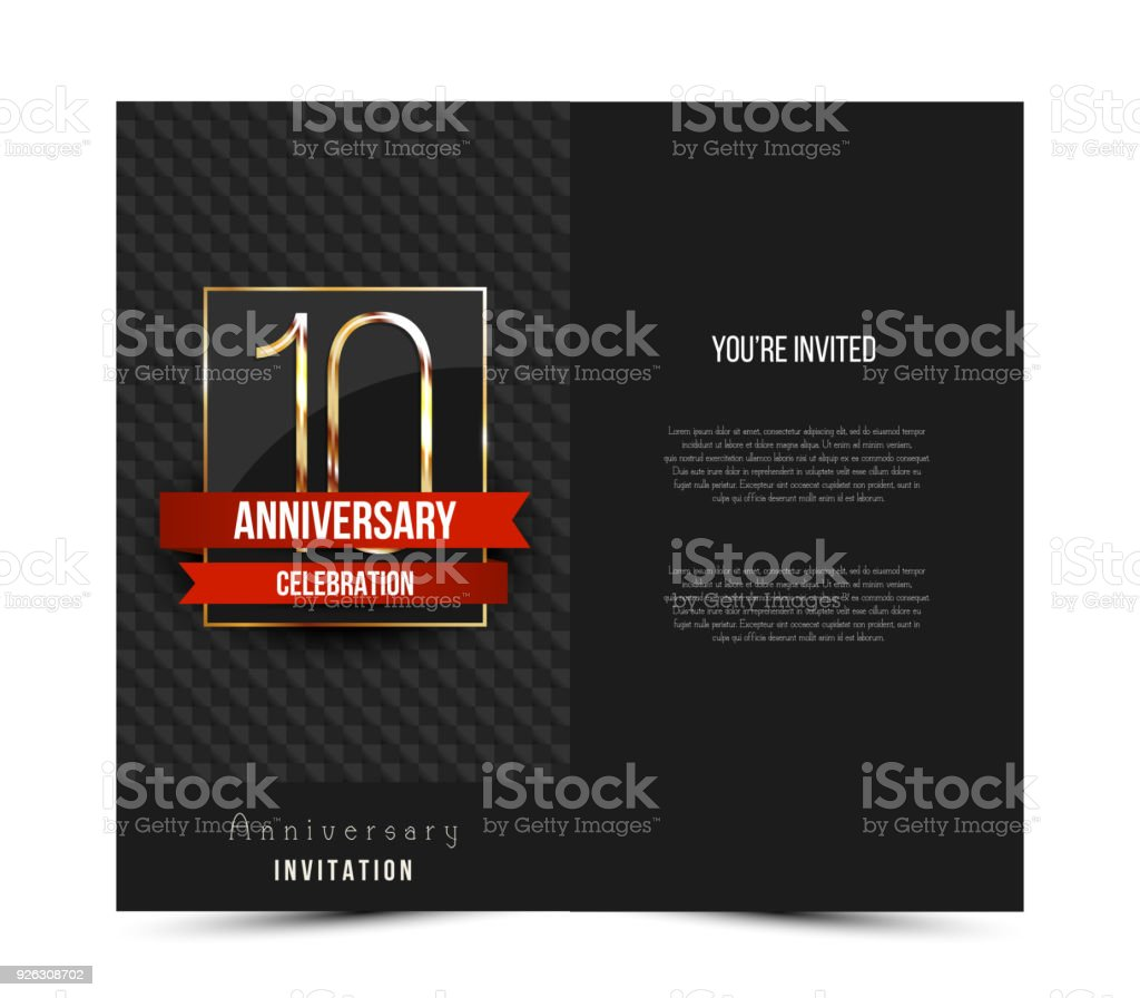 10th Anniversary Decorated Invitation Card Template Stock