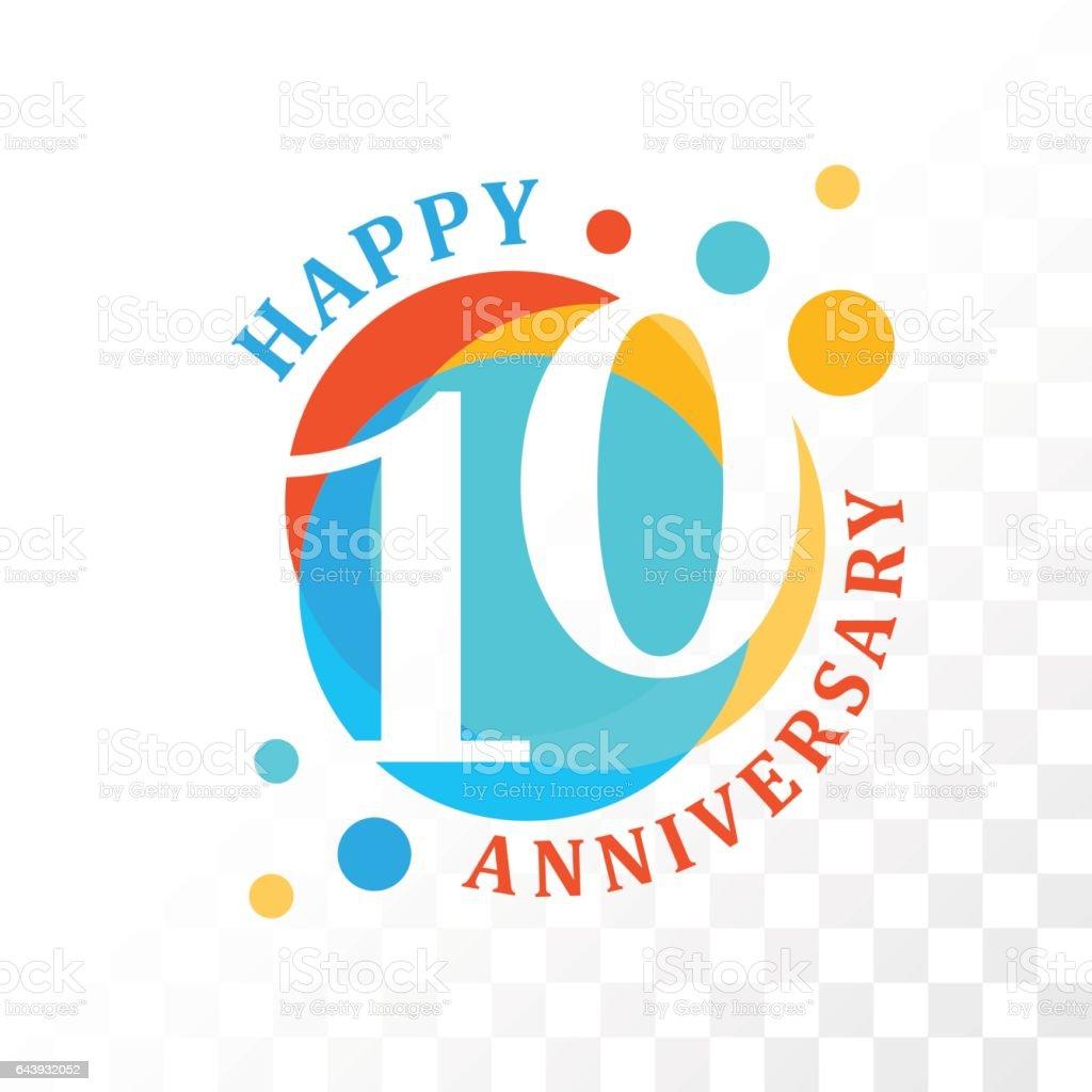 10th Anniversary emblem. vector art illustration