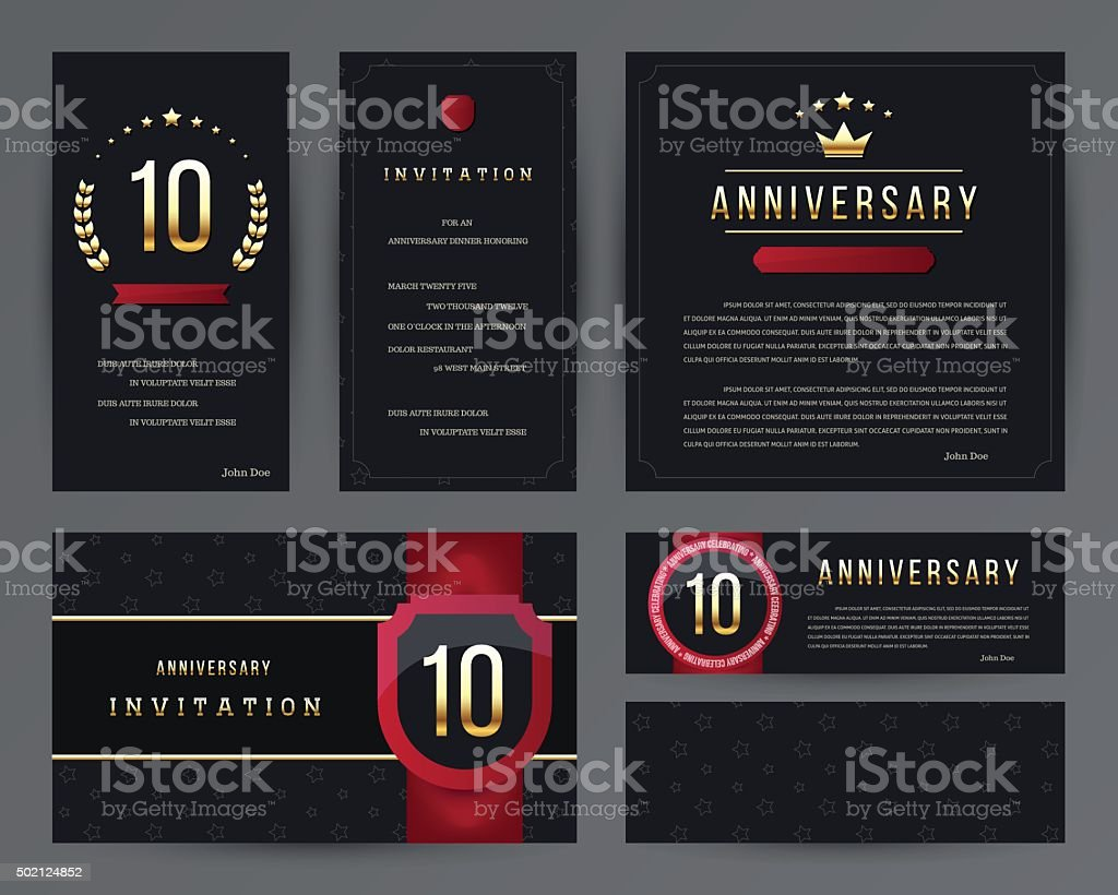 Th anniversary invitation cards template with logos vintage