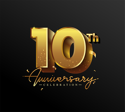 10th Anniversary Logotype with Gold Confetti Isolated on Black Background, Vector Design for Greeting Card and Invitation Card