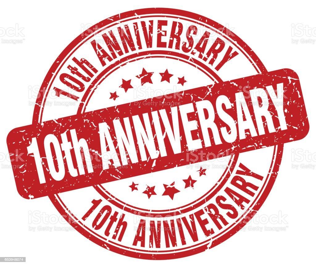 10th anniversary red grunge stamp vector art illustration