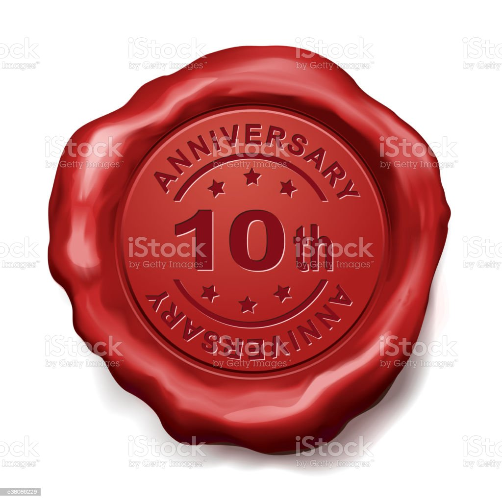 10th anniversary red wax seal vector art illustration