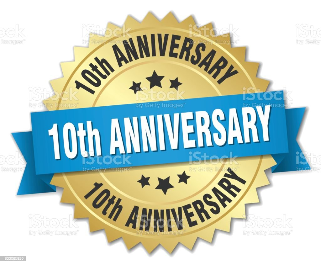 10th anniversary round isolated gold badge vector art illustration