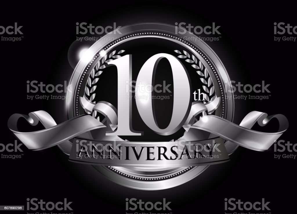 10th silver anniversary logo vector art illustration