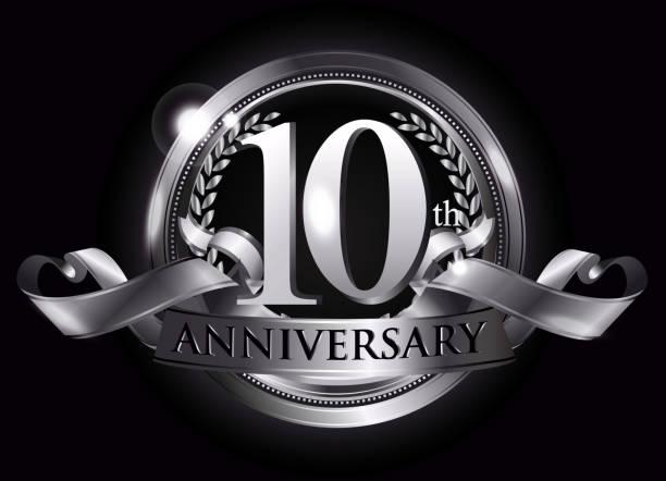 10th silver anniversary logo - anniversary patterns stock illustrations
