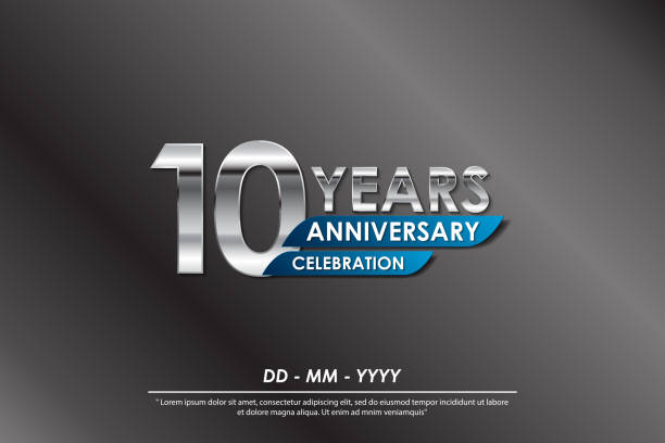 10th years anniversary celebration emblem. anniversary elegance silver logo isolated with blue ribbon, vector illustration template design for celebration greeting card and invitation card 10th years anniversary celebration emblem. anniversary elegance silver logo isolated with blue ribbon, vector illustration template design for celebration greeting card and invitation card anniversary icons stock illustrations