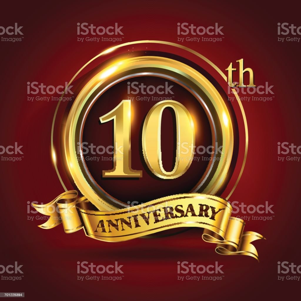 10th years anniversary logo with gold ring and golden ribbon, vector design vector art illustration