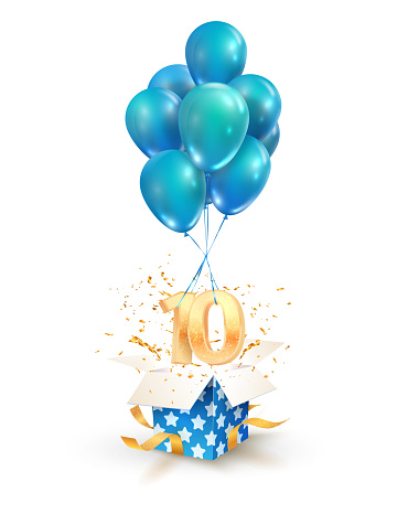 10th years celebrations. Greetings of ten anniversary isolated vector design elements. Open textured gift box with numbers and flying on balloons.