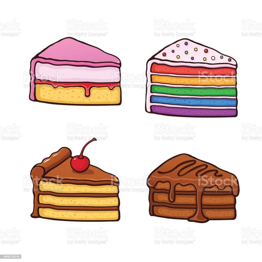 1100_set_cartoon_piece_cakes vector art illustration