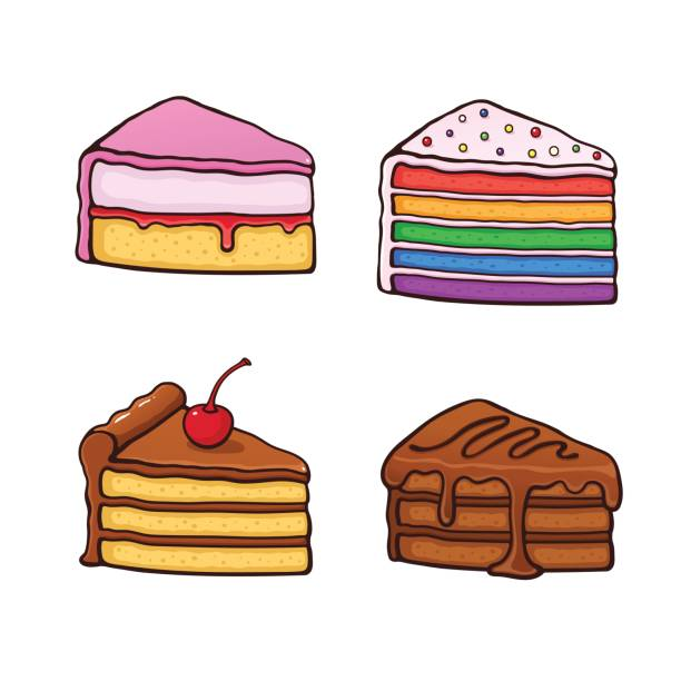 1100_set_cartoon_piece_cakes - vanillesauce stock-grafiken, -clipart, -cartoons und -symbole