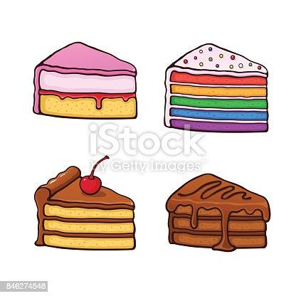 1100setcartoonpiececakes Stock Vector Art Amp More Images Of