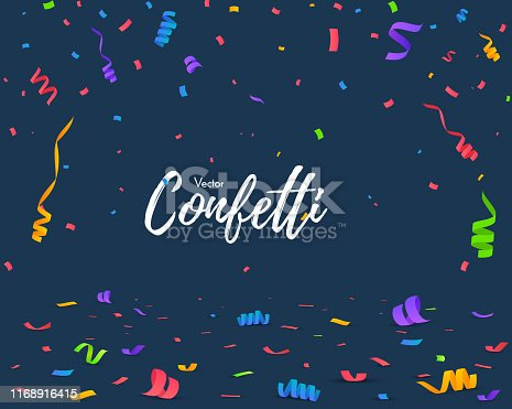 Color Confetti Isolated On Blue Background. Celebrate Vector Illustration