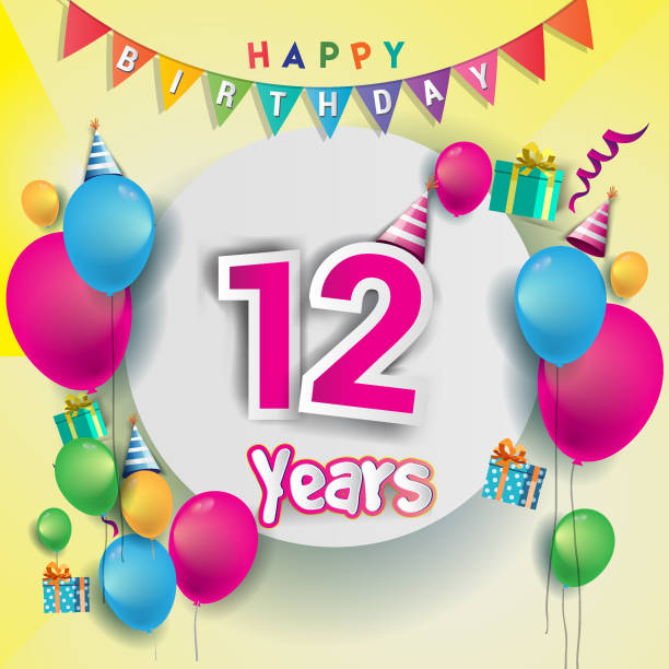 12th Years Anniversary Celebration Birthday Card Or Greeting Design With Gift Box And Balloons