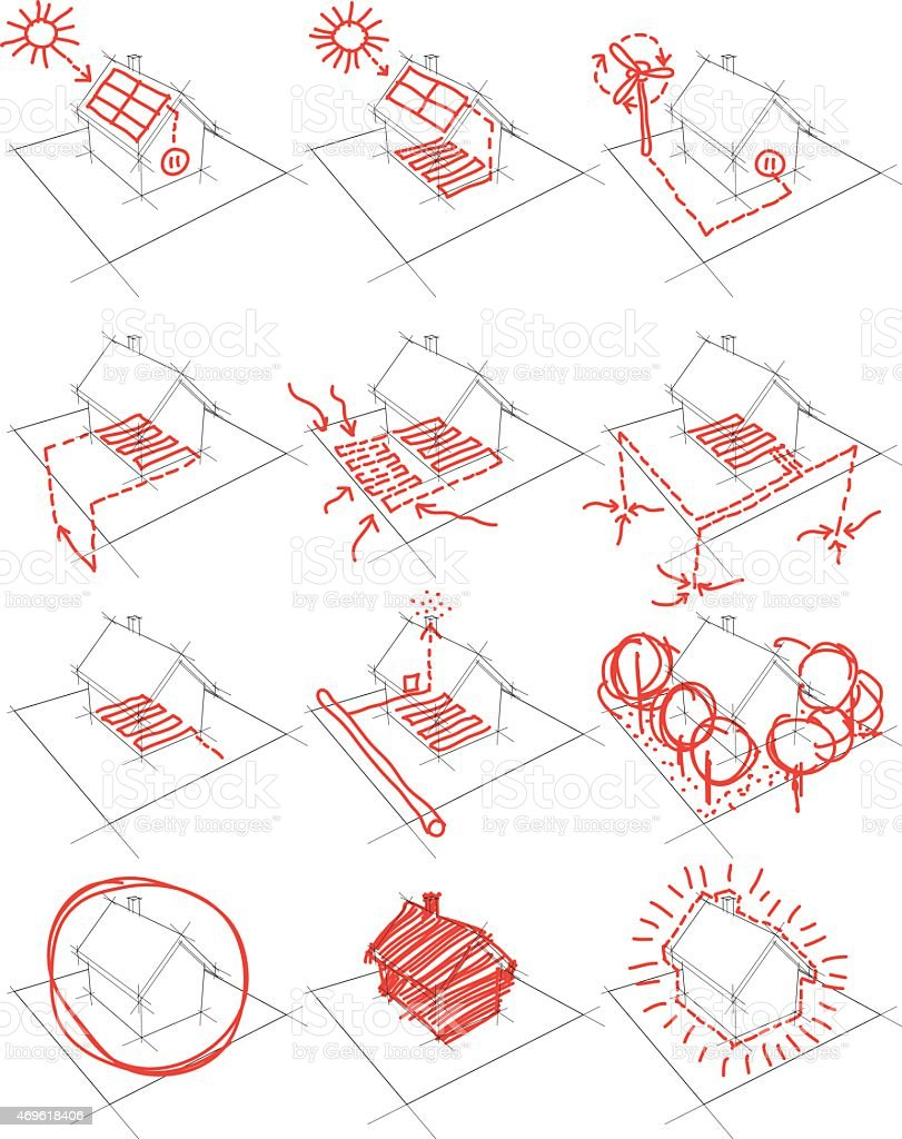 12x House Energy Concept Diagram Stock Illustration