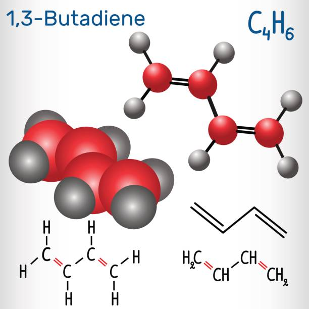1,3-butadiene (divinyl) molecule - structural chemical formula and model. used in the production of synthetic rubber - formula 1 stock illustrations