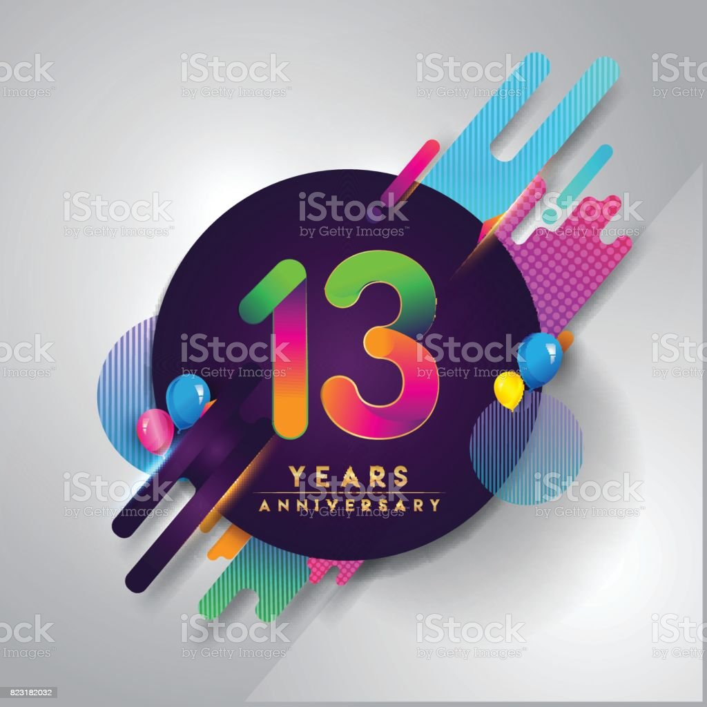 13th Years Anniversary Symbol With Colorful Abstract Background