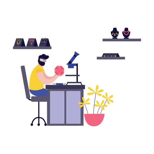 illustrazioni stock, clip art, cartoni animati e icone di tendenza di 14_0401_jeweler_working_1 - uomo artigiano gioielli
