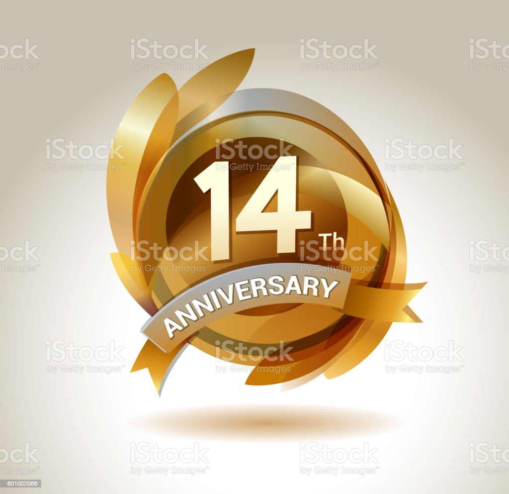 14th anniversary ribbon logo with golden circle and graphic elements vector art illustration