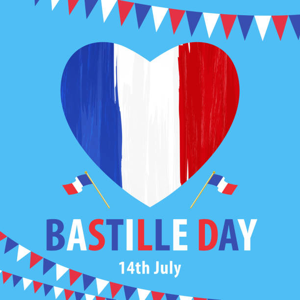 14th July Bastille Day Celebrating Bastille Day, the national day of France, on 14th July with paintbrushed heart, French flag and bunting on blue background french culture stock illustrations