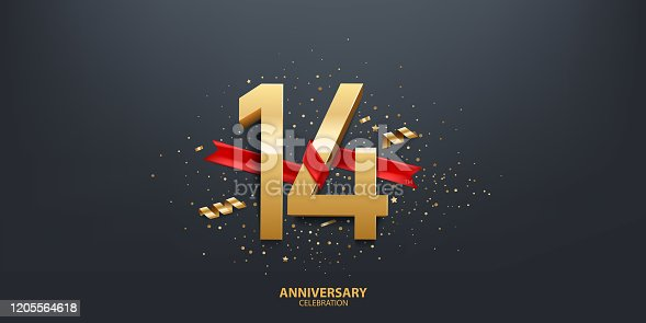 14th Year anniversary celebration background. 3D Golden number wrapped with red ribbon and confetti on black background.