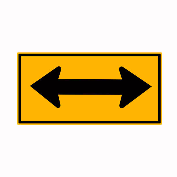 14-Warning Go Left Or Right By The Arrows Traffic Road Sign,Vector Illustration, Isolate On White Background Label. vector art illustration