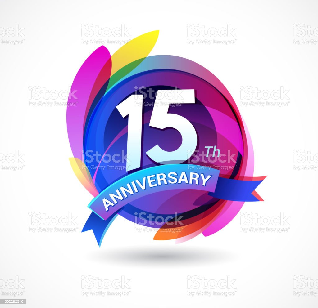 15th anniversary - abstract background with icons and elements vector art illustration