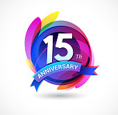 15th anniversary - abstract background with icons and elements