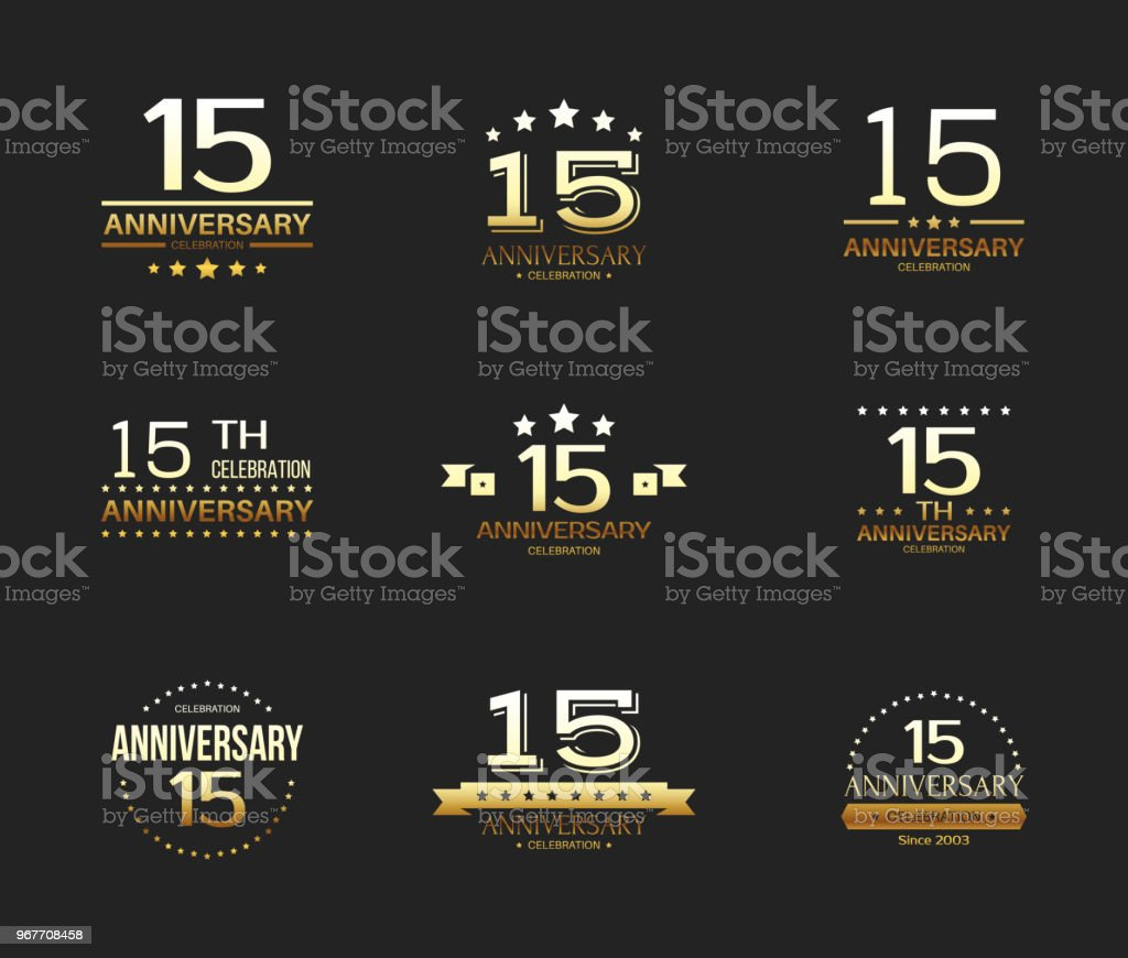 15th Anniversary Celebration Gold Symbol Set 15 Year Jubilee