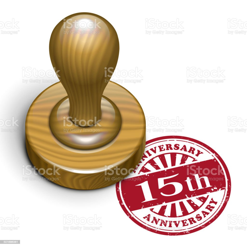 15th anniversary grunge rubber stamp royalty-free stock vector art