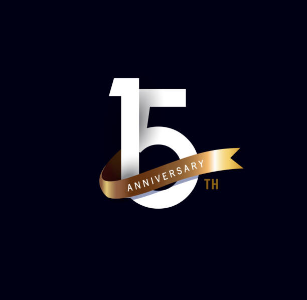 15th anniversary icon with gold ribbon. template design for web, game ,Creative poster, booklet, leaflet, flyer, magazine, invitation card vector art illustration