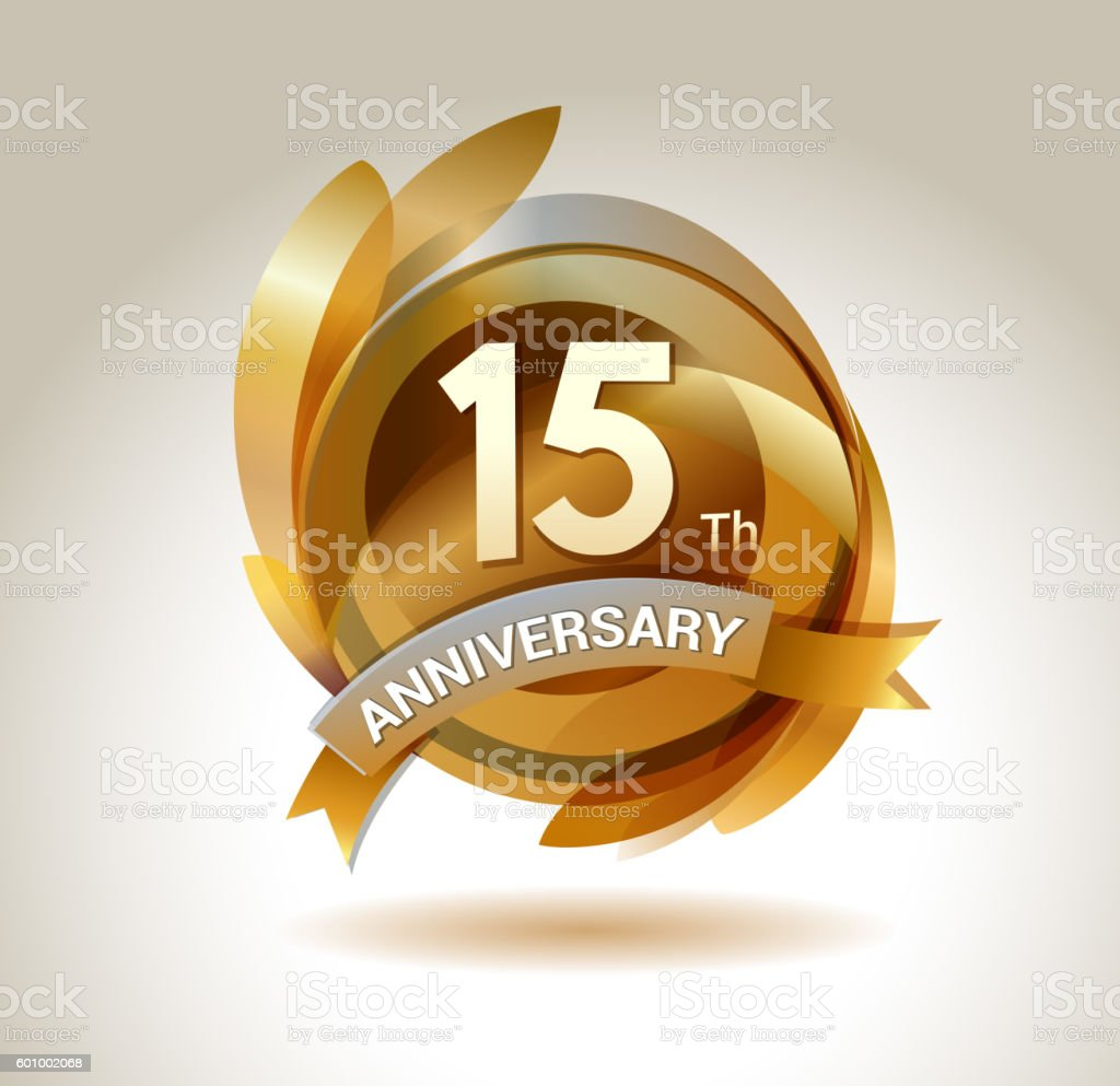 15th anniversary ribbon logo with golden circle and graphic elements vector art illustration