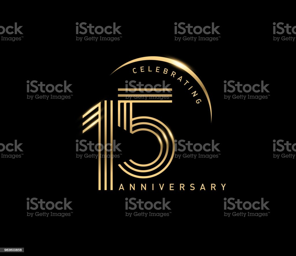 15th celebrating anniversary logo with golden ring isolated on black background, vector design for greeting card and invitation card. - Векторная графика Бизнес роялти-фри