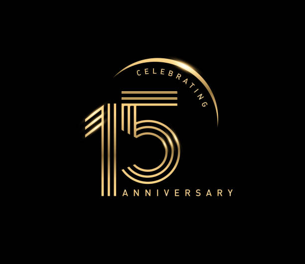 15th celebrating anniversary logo with golden ring isolated on black background, vector design for greeting card and invitation card. - holiday background stock illustrations