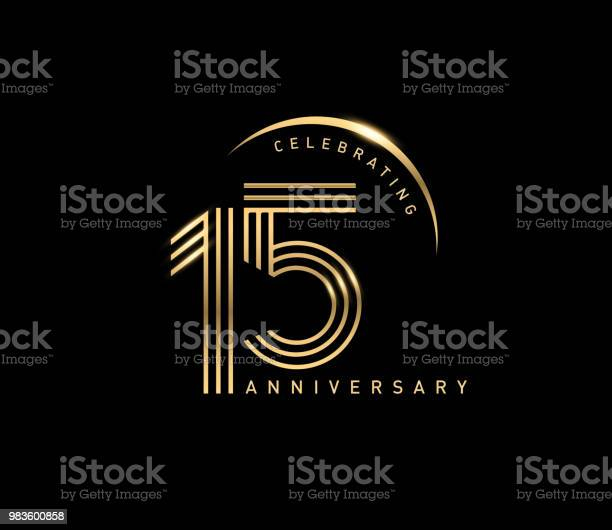 15th Celebrating Anniversary Logo With Golden Ring Isolated On Black Background Vector Design For Greeting Card And Invitation Card — стоковая векторная графика и другие изображения на тему Бизнес