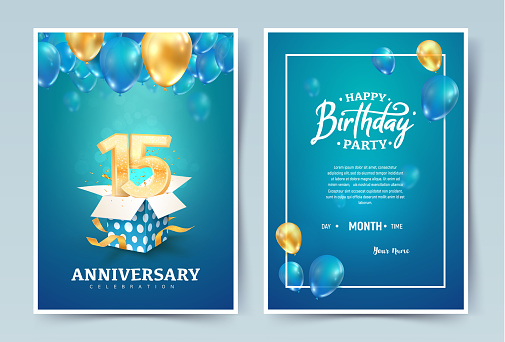 15th years birthday vector invitation double card. Fifteen years anniversary celebration brochure. Template of invitational for print on blue background.