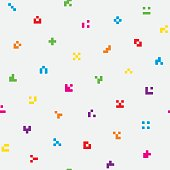 Multicolor abstract pixelated icons seamless pattern for design. Colorful tileable vector background for kids in minimalistic style.
