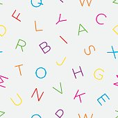 Colorful alphabet seamless wallpaper pattern. Multicolor seamless ABC vector background in style.