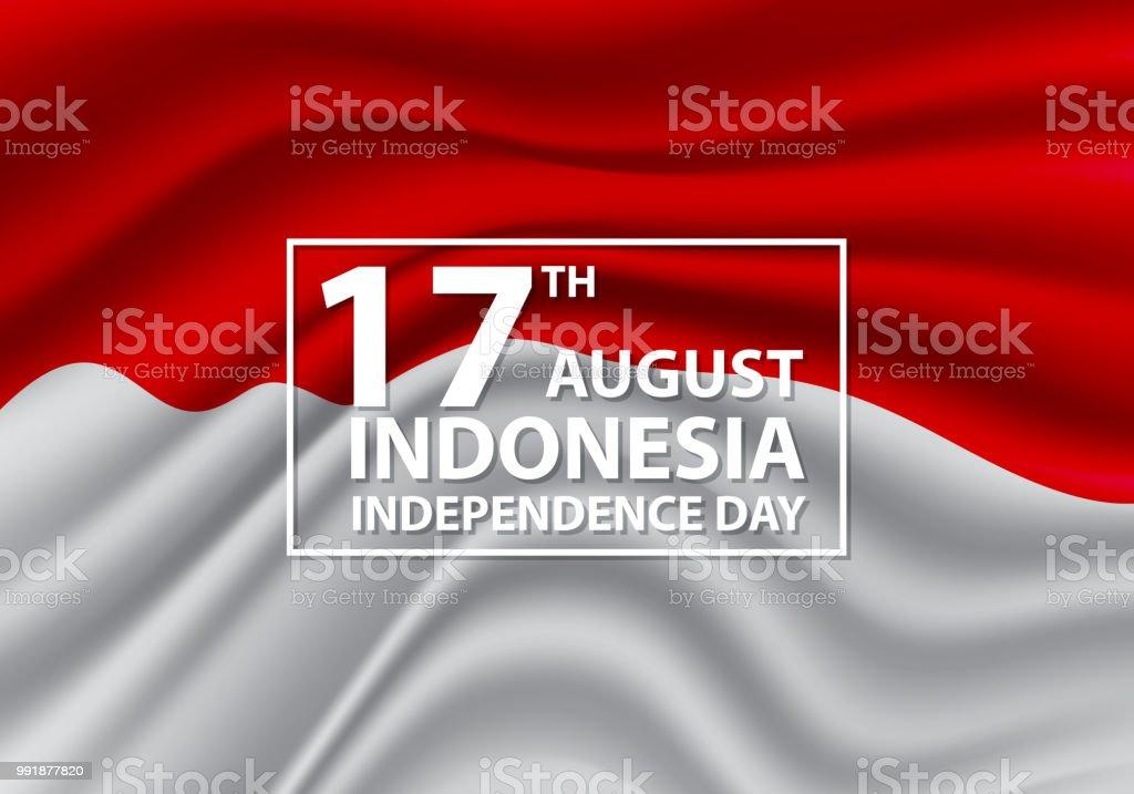 17th August Independence day Indonesia flag wave design holiday celebration vector illustration. vector art illustration