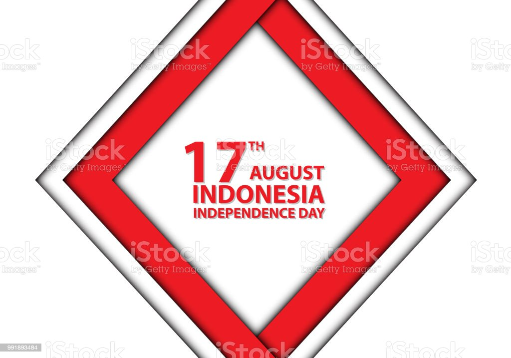 17th August Independence day Indonesia red frame on white design holiday celebration vector illustration. vector art illustration