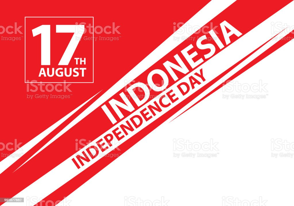17th August Independence day Indonesia text on speed line design holiday celebration vector illustration. vector art illustration