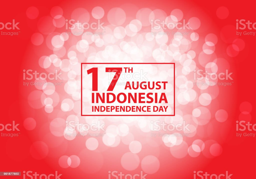 17th August Independence day Indonesia white bokeh on red text frame design holiday celebration vector illustration. vector art illustration