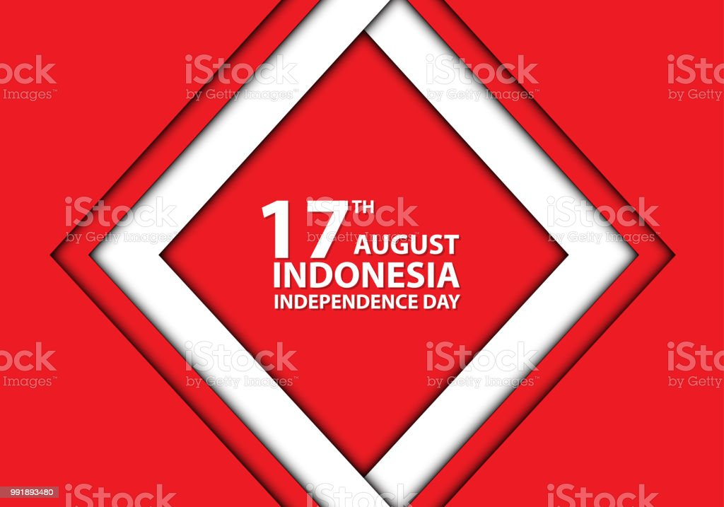 17th August Independence day Indonesia white frame on red design holiday celebration vector illustration. vector art illustration