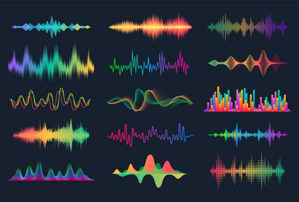 180619_sound waves. frequency audio waveform, music wave hud interface elements, voice graph signal. vector audio wave set [converted] - hałas stock illustrations