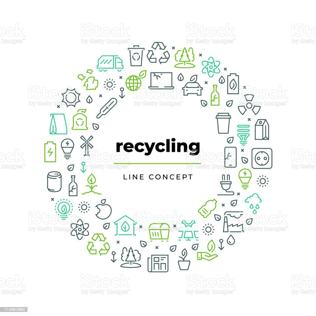 1812.m30.i020.n019.F.c06.493313134 Waste recycle line concept. Zero waste environment plastic garbage reuse bio organic food trash. Ecology recycling vector circle - arte vettoriale royalty-free di Accarezzare